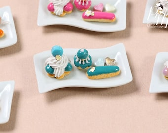 MTO-Classic French Pastries on Plate - St Honoré, Religieuse, Eclair -  Turquoise Selection - Miniature Food for Dollhouse 12th scale (1:12)