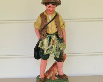 Large Chalk Ware Statue, Hunter Figurine, Large Statue, Hunting