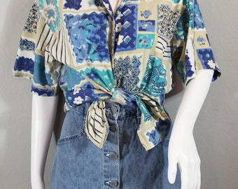 90s graphic floral button up short sleeve shirt