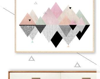 GEOMETRIC MOUNTAIN wall art print