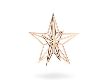 Wooden Christmas Star natural birch wood