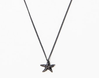 Oxidized Silver Starfish Necklace