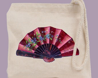 Vintage Victorian Hand Fan Wristlet / Mini Tote / Bridesmaid clutch  - personalization available