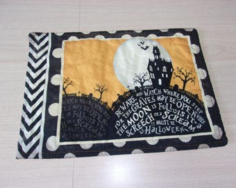 Halloween placemats, fabric placemats, table linens, Halloween decor, table decoration, haunted house, graveyard scene, sit a spell fabric