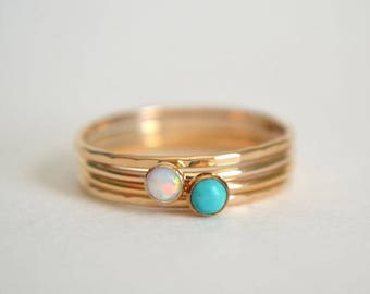 Set of Four 14k Solid Gold Opal Rings, 14k Gold Opal Ring, White Opal Ring Gold, Gold Turquoise Ring, Dainty Ring, Gold Hammered Ring