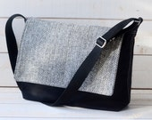 READY TO SHIP - Black Canvas Messenger Bag - Laptop Messenger Bag - Messenger Bag - Crossbody /gift for him/gift for her