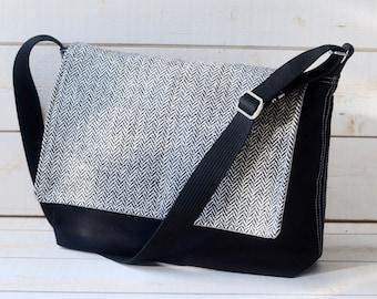 Black Canvas bag,Adult Messenger Bag,Laptop bag,Messenger Bag,Crossbody bag,gift for him,gift for her