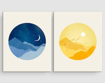 Sun and Moon Nursery Canvas Art Set of 2 Prints, Scandinavian Nursery Wall Art Canvas, Gender Neutral Baby Gift, Kids Room Art, Baby Shower