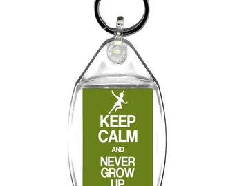 keyring double sided , keep calm and never grow up, keychain, keyfob -  novelty & funny new keychains key rings