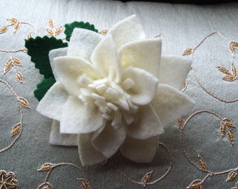 Ivory Brooch Felt Flower Pin, Handmade Jewelry Felt Wool Pins