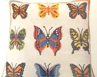 "Columbia Minerva Butterflies Needlepoint Pillow Kit 14"" x 14"" ~ Free Domestic Shipping"