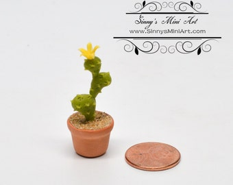 1:12 Dollhouse Miniature Planted Cactus, Tall Flowering Cactus BD A1611