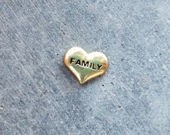 Floating Charm For Glass Memory Lockets- Gold Family Heart