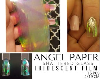 Angel Paper - Iridescent Film for Shattered Glass Effect Nail Art