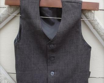 Boys Vintage Charcoal Grey Vest, Wedding Ring Bearer, Toddler Vest, Boys Gray Vest (1-10 year old)