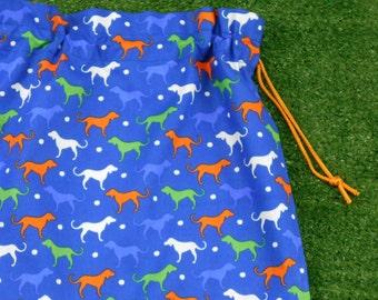 Dogs blue drawstring bag, library bag, large blue cotton bag