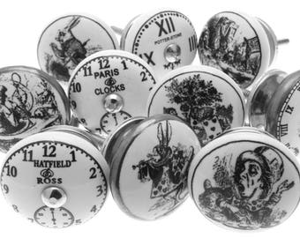 Mixed set of 10 Exclusive 'Alice in Wonderland' theme ceramic drawer knobs with Rabbit and Clocks in black and white and silver finishes.