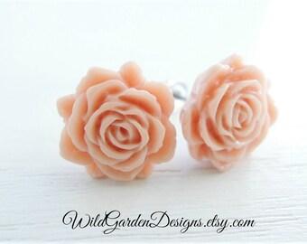 Blush Beige Flower Post Stud Earrings Wedding Jewelry Bridesmaid Gifts Romantic Simple Bridal Jewelry Rose Flower Earrings Neutral Color