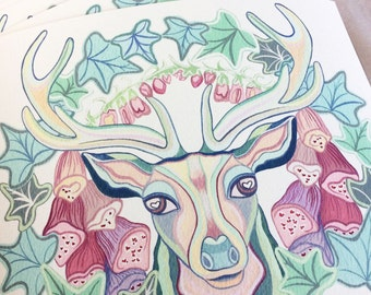 "Stag Print, The Stag & the Foxgloves, 10"" x 8"" Print, Deer Print, Deer Art, Giclee, Woodland, Home Decor, Gift Idea, Turquoise Eye"