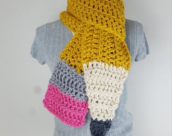 Chunky Pencil Scarf: TEACHER GIFT, Toddler Gear, Scarf, Costume, Preschool, First Day of School Gift, Adult Scarf