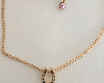 Women's Anklet-Gold Plated Horseshoe Anklet-Women's Jewelry-Swarovsky Pearl-Women's Accessory-Women's Gift-Girlfriend Jewelry-BDN14