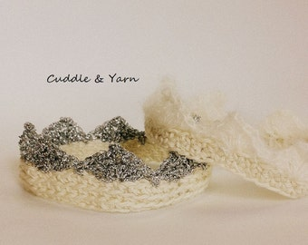 Crochet Baby Crown, Boy and Girl Newborn Crown, Newborn Headband, Photo Prop, Baby Shower Gift, Cotton and Silver Crown.