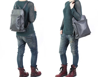 Backpack Purse, Leather Backpack, Women Backpack, Leather Laptop Bag, Girls Backpacks, Laptop Backpack, Gray Backpack, Work Backpack