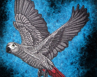 HUGE lovely African Grey Parrot Bird Iron on or Sew on Patch