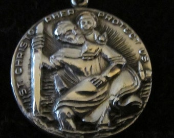 Vintage St. Christopher Protect Us - stamped Chapel Sterling pendant