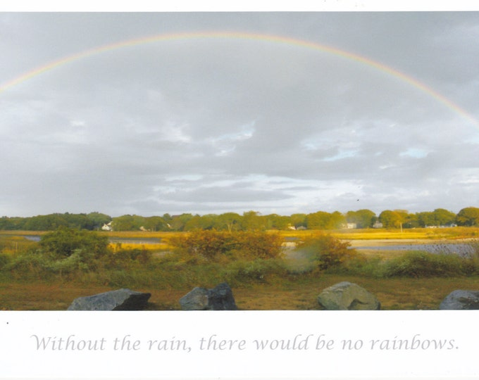 Without Rain no rainbows LARGE quote card