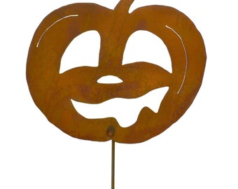 Laughing Jack-o-Lantern Rust Metal Halloween Garden Decoration Yard Stake Garden Art
