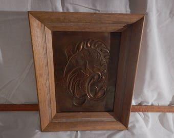 Pressed Copper Art in frame