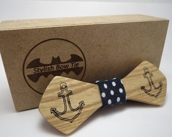 Wood Bow Tie / Anchor / Mens Accessories / Mens necktie / 100% hand made / Best personal gift