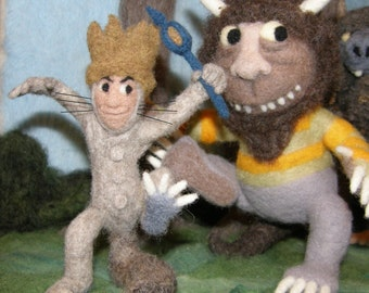 Where the wild Things Are Tribute in Needle Felted Wool Large Sculpture