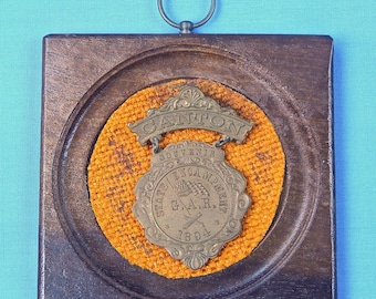 Antique GAR 1894 Canton State Encampment Souvenir Badge with Wall Plaque Military Collectable Civil War Veterans Memorabilia