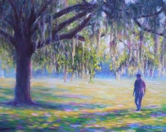 """Large Landscape Painting, Savannah Lafayette Square, Original Oil Painting, 30x40"""" Landscape"""