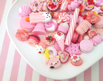 Assorted Pink Sweets/Food/Character Cabochons Mix #1017