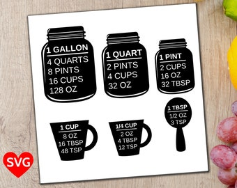 Measuring Cups SVG file, Measuring Cup and Spoon SVG Conversion Chart, Printable Measuring Cups Cheat Sheet SVG, Kitchen Measurement svg pdf