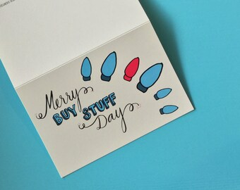 Holiday Card: Merry Buy Stuff Day - Holiday Cards Funny - Christmas Cards - Christmas Cards Funny - Greeting Cards - Holiday Cards