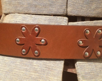 Italian Leather Daisy Cutout Studded Belt 90s Boho Grunge by Gap