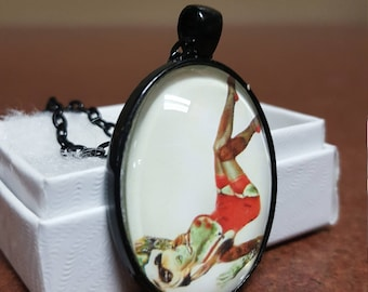 22x30 oval zombie pinup pendant necklace