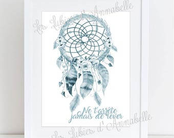 BLUE/gray Indian Dreamcatcher poster