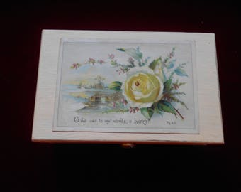 Vintage wooden box vintage card with verse from Psalms