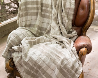 Checkered Natural Linen Bed cover / Throw