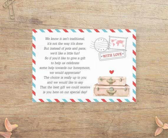 Gift Card Wedding Shower Invitation Wording: Honeymoon Fund Request Travel Wedding Insert Invitation