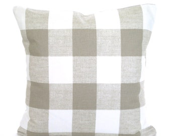 Taupe White Decorative Throw Pillow Covers, Cushions, Taupe Ecru White Buffalo Check Anderson, Couch Bed Sofa Taupe Cushions One ALL SIZES