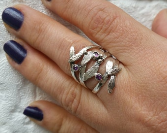 Twig silver ring, Leaves ring, Twig jewelry, Twig ring, Branch ring, Tree branch ring, Branch silver ring, Amethyst ring, Febuary ring, Gift