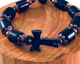 Handmade Bracelet, Oxidized Iron Cross Focal Bead, Chevron Glass and Copper Beads
