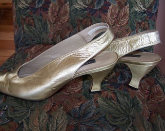 Mules, Slingback, Gold, pumps, metallic, Designer, shoes, Heels, size 9.5