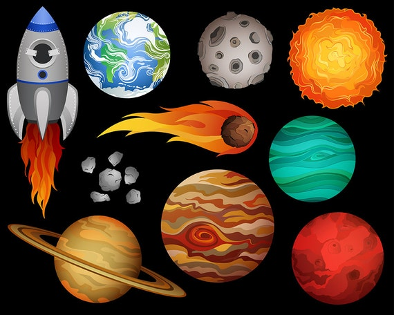Outer Space Clip Art Set Of 10 X-Large 300 DPI Vector PNG